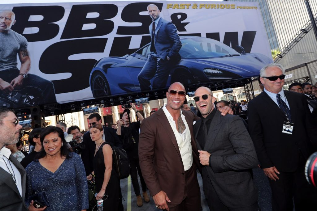 Dwayne Johnson and Jason Statham seen at Universal Pictures World Premiere of FAST & FURIOUS PRESENTS: HOBBS & SHAW at the Dolby Theater in Hollywood, CA on Saturday, July 13th, 2019.
